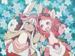 :3 :d animal_ears breasts hand_holding happy looking_at_another lying made_in_abyss mitty_(made_in_abyss) nanachi_(made_in_abyss) navel nightcat on_back open_mouth redhead silver_hair small_breasts smile tail wavy_mouth whiskers yellow_eyes