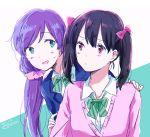 2girls green_eyes love_live! love_live!_school_idol_project matsuri_(artist) multiple_girls purple_hair red_eyes toujou_nozomi yazawa_nico