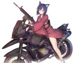 1girl animal_ears assault_rifle bangs blush cat_ears eyebrows_visible_through_hair floral_print fn_scar ground_vehicle gun hair_ornament hairclip highres holding holding_gun holding_weapon japanese_clothes kashiwamochi_yomogi kimono long_sleeves looking_at_viewer motor_vehicle motorcycle nijisanji obi one_eye_closed red_kimono rifle sandals sash shizuka_rin short_hair simple_background smile solo trigger_discipline virtual_youtuber weapon white_background white_legwear wide_sleeves yellow_eyes
