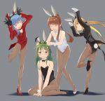 4girls ^_^ ^o^ animal_ears asymmetrical_hair black_gloves black_leotard blonde_hair blue_hair blush brown_hair brown_legwear bunny_pose bunny_tail closed_eyes crescent crescent_hair_ornament crescent_moon_pin fake_animal_ears fumizuki_(kantai_collection) gahaku gloves green_eyes green_hair grey_background grin hair_ornament kantai_collection leotard long_hair long_sleeves low_twintails minazuki_(kantai_collection) multiple_girls nagatsuki_(kantai_collection) open_mouth pantyhose ponytail rabbit_ears satsuki_(kantai_collection) shadow short_hair simple_background smile tail twintails white_gloves white_leotard yellow_eyes