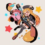 domino_mask full_body hat highres hoshi_no_kirby inkling keijou_(cave) kirby kirby_(series) mask paint paintbrush school_uniform serafuku skirt splatoon star star_print tentacle_hair thigh-highsv