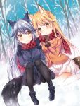 2girls :o animal_ears black_legwear blonde_hair blue_gloves blue_jacket blue_sky blurry blurry_background blush breasts brown_gloves closed_mouth commentary_request depth_of_field dutch_angle eyebrows_visible_through_hair ezo_red_fox_(kemono_friends) forest fox_ears fox_tail fur_trim gloves grey_hair hair_between_eyes jacket kemono_friends large_breasts long_hair long_sleeves looking_at_another looking_at_viewer multiple_girls murasakigo nature orange_jacket pantyhose parted_lips pleated_skirt silver_fox_(kemono_friends) silver_hair sitting skirt sky smile snow snowing tail tree white_skirt yellow_eyes