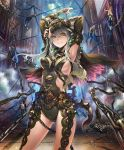 1girl arms_up artist_request bound breasts chains church cygames faceless faceless_male grey_hair grin habit impossible_clothes long_hair multiple_boys official_art revealing_clothes shadowverse shingeki_no_bahamut sideboob sister_of_punishment smile yellow_eyes