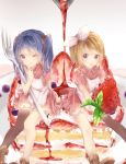 2girls :p apron blonde_hair blue_eyes blue_hair blueberry brown_footwear cake commentary_request dress food fruit hatsune_miku highres holding kagamine_rin leaf looking_at_viewer minigirl multiple_girls one_eye_closed plate puffy_short_sleeves puffy_sleeves red_dress shiromi shoes short_sleeves single_thighhigh smile strawberry syrup thigh-highs tongue tongue_out twintails vocaloid white_background