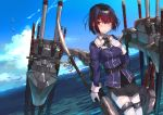 1girl bangs belt bird black_eyes black_hair black_skirt blush closed_mouth collared_shirt eyebrows_visible_through_hair eyes_visible_through_hair full_body gloves haguro_(kantai_collection) hair_ornament hand_on_own_chest high_heels holding holding_weapon kantai_collection katana leaning_forward long_sleeves machinery military military_uniform naginata ocean pantyhose pencil_skirt polearm puffy_long_sleeves puffy_sleeves red_ribbon ribbon sheath sheathed shirt short_hair skirt sky smile solo standing standing_on_liquid sword tears thigh-highs thigh_strap thighband_pantyhose turret uniform weapon white_gloves white_legwear yueqin_(monnpiano)