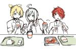 3boys ahoge blonde_hair eating food french_fries fukase highres kagamine_len male_focus multiple_boys pizza redhead school_uniform short_hair silver_hair tray utatane_piko vocaloid