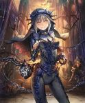 1girl artist_request bodysuit bound chains church closed_eyes cygames faceless faceless_male grey_hair grin habit impossible_clothes multiple_boys official_art scared shadowverse shingeki_no_bahamut sister_of_punishment smile