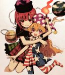 2girls american_flag_dress american_flag_legwear bangs black_shirt blonde_hair blush_stickers clownpiece dress earth_(ornament) fire hat hecatia_lapislazuli jester_cap ka_(marukogedago) long_hair looking_at_viewer miniskirt moon_(ornament) multicolored multicolored_clothes multicolored_skirt multiple_girls neck_ruff open_mouth pantyhose pink_eyes polka_dot polos_crown red_eyes redhead shirt short_dress short_sleeves skirt smile star star_print striped t-shirt torch touhou