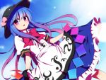 1girl black_hat blue_hair blue_skirt blush bow bowtie day dress_shirt dutch_angle food frilled_skirt frills fruit gradient_hair hat hinanawi_tenshi lifted_by_self long_hair looking_at_viewer multicolored_hair parted_lips peach pink_eyes pink_hair puffy_short_sleeves puffy_sleeves rainbow_order red_bow red_neckwear sash shirt short_sleeves sidelocks skirt skirt_lift solo sunlight touhou white_shirt you_(noanoamoemoe)
