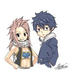 1boy 1girl blue_hair brown_eyes child commentary_request cropped_torso fairy_tail fur_trim gray_fullbuster hands_in_pockets hands_on_hips if_they_mated jacket juvia_loxar long_hair lucy_heartfilia mashima_hiro natsu_dragneel redhead scarf signature simple_background smile vest white_background