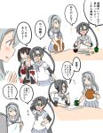 3girls :> :d :o ^_^ amagiri_(kantai_collection) atsushi_(aaa-bbb) black_hair brown_hair chopsticks closed_eyes comic commentary cup fish flying_sweatdrops food glasses hairband kantai_collection long_hair multiple_girls open_mouth paper pleated_skirt ponytail remodel_(kantai_collection) rice_bowl sagiri_(kantai_collection) scarf school_uniform sendai_(kantai_collection) serafuku silver_hair sketch skirt smile sweatdrop teacup translation_request twintails very_long_hair white_scarf