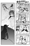 >_< 4koma 6+girls :d animal animal_ears armband australian_devil_(kemono_friends) beak bear_ears bearded_seal_(kemono_friends) bird breasts bubble comic commentary_request crying crying_with_eyes_open emperor_penguin_(kemono_friends) eyebrows eyebrows_visible_through_hair eyelashes eyepatch fang fox_ears gentoo_penguin_(kemono_friends) giant_panda_(kemono_friends) grape-kun headphones heart heart_hands hime_(crunchyroll) humboldt_penguin humboldt_penguin_(kemono_friends) kemono_friends leotard looking_at_another microphone monochrome multiple_girls music musical_note nattou_mazeo one-piece_swimsuit open_mouth panda_ears penguin penguins_performance_project_(kemono_friends) puma_(kemono_friends) puma_ears quaver raised_eyebrows rockhopper_penguin_(kemono_friends) royal_penguin_(kemono_friends) sailor_collar school_uniform serafuku short_hair singing small_breasts smile swimming swimsuit tareme tears teeth text translation_request tsurime underwater water