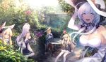 5girls anchor_symbol animal_ears apron azur_lane bangs bare_shoulders belfast_(azur_lane) black_dress blonde_hair blue_eyes blush bow breasts chair cleavage closed_eyes crown cup day detached_collar detached_sleeves dress drinking_cup elbow_gloves eyebrows_visible_through_hair flower frilled_apron frills garden gloves hair_bow hair_ears hair_ornament hat headgear highres hood_(azur_lane) illustrious_(azur_lane) large_breasts legs_crossed long_hair long_sleeves looking_at_viewer low_twintails maid maid_apron maid_headdress mephist-pheles mini_crown mole mole_under_eye multiple_girls open_mouth outdoors queen_elizabeth_(azur_lane) ribbon saucer scarf sidelocks silver_hair sitting smile sun_hat sunlight table teacup thigh-highs twintails violet_eyes waist_apron warspite_(azur_lane) white_dress white_hair white_hat zettai_ryouiki