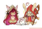 2girls :o aa2233a alternate_hair_color blush_stickers cosplay costume_switch covering covering_chest flat_chest kog'maw league_of_legends long_hair lulu_(league_of_legends) made_in_abyss marker_(medium) mitty_(made_in_abyss) multiple_girls nanachi_(made_in_abyss) navel pink_hair pix red_eyes staff standing traditional_media white_hair yellow_eyes yordle