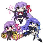 >;d 3girls :d ;d armor bb_(fate/extra_ccc) black_legwear blue_eyes blue_hair blue_ribbon blush_stickers boots breasts chan_co chibi claws commentary_request crotch_plate dress eyebrows_visible_through_hair fate/extra fate/extra_ccc fate_(series) greaves hair_ribbon hand_on_hip hands_in_sleeves heart high_collar holding holding_wand large_breasts long_hair long_sleeves looking_at_viewer meltlilith multiple_girls navel one_eye_closed open_mouth panties pantyhose parted_lips passion_lip pink_eyes pink_ribbon purple_dress purple_hair ribbon simple_background smile smirk smug spikes thigh-highs tied_sleeves underwear very_long_hair violet_eyes wand white_background white_panties