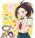 !! ... 3boys 3girls ashido_mina blush boku_no_hero_academia closed_eyes hiyori_(rindou66) japanese jirou_kyouka kaminari_denki multiple_boys multiple_girls ojiro_mashirao onomatopoeia open_mouth red_neckwear school_uniform sero_hanta short_sleeves smile speech_bubble teeth text translated yaoyorozu_momo