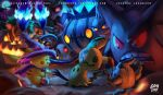 chandelure closed_eyes creepy gengar halloween hat highres logan_cure mimikyu no_humans pikachu pokemon pokemon_(creature) pokemon_(game) pokemon_sm smile witch_hat