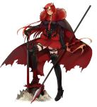 1girl alternate_costume armor armored_boots blood blood_splatter bloody_weapon boots boudica_(fate/grand_order) breasts cape commentary crown_of_thorns dark_persona dual_wielding fate/grand_order fate_(series) frown fur_trim gauntlets grey_background highres large_breasts long_hair muneomon_(takomon) pleated_skirt polearm red_skirt redhead simple_background skirt solo spear sword thigh-highs thigh_boots thigh_strap torn_cape weapon yellow_eyes