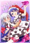 +_+ 2girls blue_eyes blue_hair blush capelet cosplay covering_mouth doremy_sweet doremy_sweet_(cosplay) dream_soul dress food harusame_(unmei_no_ikasumi) hat kishin_sagume multiple_girls nightcap pizza pom_pom_(clothes) red_eyes silver_hair single_wing smile sweatdrop tail tapir_tail touhou wings