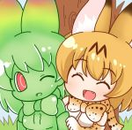 2girls :d ;d ^_^ animal_ears bangs bare_shoulders black_hair blonde_hair blue_sky blush bow bowtie breasts cerval chibi closed_eyes day elbow_gloves eyebrows eyebrows_visible_through_hair eyelashes fang gloves grass green_bow green_gloves green_hair green_neckwear green_shirt green_skin hair_between_eyes kemono_friends looking_at_another looking_to_the_side medium_breasts multicolored multicolored_bow multicolored_bowtie multicolored_clothes multicolored_gloves multicolored_hair multiple_girls no_eyebrows no_nose one_eye_closed open_mouth outdoors red_eyes serval_(kemono_friends) serval_ears serval_print shiny shiny_clothes shiny_hair shiny_skin shirt short_hair sky sleeveless sleeveless_shirt smile tongue tree two-tone_hair white_shirt ziogon