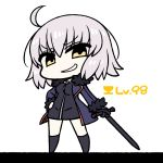 >:) 1girl ahoge bangs black_dress black_legwear blue_jacket chan_co chibi commentary_request dress eyebrows_visible_through_hair fate/grand_order fate_(series) fur_trim grin hand_on_hip holding holding_sword holding_weapon jacket jeanne_alter kneehighs legs_apart long_sleeves looking_at_viewer ruler_(fate/apocrypha) simple_background smile smug solo standing sword weapon white_background yellow_eyes