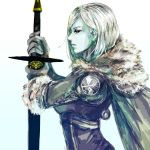 1girl armor blue_skin destiny_(game) fur_collar gloves hunter_(destiny) nvalkyrja short_hair sword tagme weapon white_hair