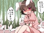 1girl :3 animal_ears bamboo bamboo_forest blush brown_hair carrot commentary_request dress forest hammer_(sunset_beach) inaba_tewi jewelry looking_at_viewer nature necklace open_mouth pink_dress pink_eyes rabbit rabbit_ears short_hair sitting smile solid_circle_eyes solo touhou