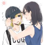 2girls adjusting_another's_clothes adjusting_clothes adjusting_hat aqua_eyes baseball_cap black_hair blonde_hair blue_tank_top clothes_writing commentary_request d: fang flying_sweatdrops hands_on_another's_hat hat headwear_writing highres monsieur multiple_girls open_mouth original profile shirt sun sweatdrop t-shirt tank_top watch watch wavy_mouth white_shirt