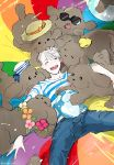 1boy ^_^ animal animal_on_head ball beachball bird bird_on_head closed_eyes denim dog flower flower_necklace hat highres jeans jewelry kobayashi_niki lying makkachin male_focus multiple_persona necklace on_back on_head open_mouth pants sailor_hat shirt silver_hair smile striped striped_shirt sun_hat sunglasses tongue tongue_out viktor_nikiforov yuri!!!_on_ice