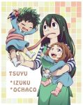 1boy 2girls action_figure all_might apron astronaut_helmet asui_tsuyu blush blush_stickers boku_no_hero_academia carrying character_name child freckles frog_girl happy hiyori_(rindou66) holding_toy long_tongue midoriya_izuku multiple_girls no.13 overalls shirt smile striped striped_shirt tongue tongue_out toy uraraka_ochako younger