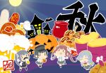 4girls alcohol arare_(kantai_collection) arm_warmers asagumo_(kantai_collection) autumn bat beer bike_shorts black_hair black_legwear black_ribbon braid brown_hair buttons candy_apple castle dress fake_mustache food fox_mask full_body full_moon ghost grey_hair hair_ornament hair_ribbon hairband halloween hat jack-o'-lantern kantai_collection kasumi_(kantai_collection) kneehighs loafers long_hair mask moon multiple_girls neck_ribbon oktoberfest open_mouth pinafore_dress pleated_skirt potato pretzel pumpkin remodel_(kantai_collection) ribbon sausage school_uniform serafuku shirt shoes short_hair short_sleeves side_ponytail silver_hair single_braid skirt sleeveless sleeveless_dress smile suspenders sweet_potato takoyaki text thigh-highs tun twintails wavy_hair white_shirt yamagumo_(kantai_collection)