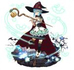 1girl bat black_hat black_legwear blue_eyes blue_hair brown_footwear cape full_body green_skirt hair_between_eyes hair_ornament halloween halloween_costume hat hat_belt holding holding_staff layered_skirt looking_at_viewer miniskirt one_leg_raised pumpkin shinon_(sao) shirt short_hair_with_long_locks sidelocks simple_background skirt sleeveless sleeveless_shirt solo staff standing standing_on_one_leg sword_art_online thigh-highs white_background white_shirt witch_hat zettai_ryouiki