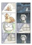 1girl 4koma animal bird cat comic duck duckling grey_hair highres kemono_friends murakami_rei night rain raincoat shoebill_(kemono_friends) silent_comic