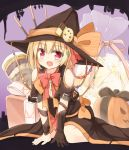 1girl :d arm_support bag bangs belt_buckle black_belt black_bow blonde_hair bow bowtie box brown_gloves brown_hat brown_robe buckle checkerboard_cookie chocolate_chip_cookie commentary_request cookie eyebrows_visible_through_hair fang food gift gift_box gloves hat jack-o'-lantern looking_at_viewer open_mouth orange_bow pink_neckwear pink_skirt pleated_skirt red_eyes robe rumia single_glove sitting skirt smile solo touhou transparent wariza witch_hat yuuhagi_(amaretto-no-natsu)