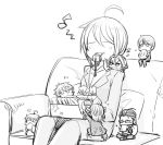 1girl 6+boys ahoge akai_suzaku chibi closed_eyes coffee_mug couch eating fuyumi_jun glasses greyscale heart idolmaster idolmaster_side-m jacket kizaki_ren kurono_genbu miniboy monochrome multiple_boys nekoyanagi_kirio pekosuke producer_(idolmaster_side-m) seed seiza sitting sunflower_seed wakazato_haruna whistle