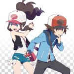 1boy 1girl bag bare_arms baseball_cap blue_eyes brown_eyes brown_hair checkered checkered_background denim denim_shorts frown hat jacket long_sleeves open_mouth pants poke_ball pokemon pokemon_(game) pokemon_bw shorts simple_background smile tank_top touko_(pokemon) touya_(pokemon) unini_99 vest white_background wristband