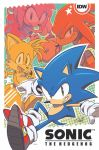 1girl 3boys amy_rose artist_signature copyright_name cover cover_page echidna_(animal) fox gloves grin hammer hedgehog idw_publishing knuckles_the_echidna looking_at_viewer multiple_boys no_humans official_art shoes smile sneakers sonic sonic_the_hedgehog spiked_gloves tails_(sonic) tyson_hesse watermark white_gloves