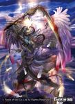1boy absurdres barefoot black_hair blood blue_skin bracelet clouds cloudy_sky copyright_name day feathered_wings feathers force_of_will helmet highres horns jewelry long_hair male_focus official_art red_eyes sakai_yuuki_(yu_kino) scythe sky solo wings