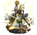 1girl animal_ears blonde_hair breasts brown_footwear cleavage fox_ears fox_tail full_body gloves green_eyes green_legwear grey_gloves hair_between_eyes halloween halloween_costume holding large_breasts leafa long_hair midriff navel one_leg_raised paw_gloves paws ponytail simple_background solo stomach striped striped_legwear sword_art_online tail thigh-highs vertical-striped_legwear vertical_stripes white_background
