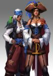 2girls alternate_costume ana_(overwatch) arm_around_shoulder bird black_hair breasts cleavage corsair_ana dark_skin eyepatch facial_tattoo garter_straps grey_hair hat headband jacket_on_shoulders jewelry keiyuki looking_at_viewer mother_and_daughter multiple_girls open_collar overwatch parrot pharah_(overwatch) pirate pirate_hat ring sword tattoo weapon