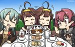 3girls :d afterimage ahoge blue_hair blue_sky brown_hair cake closed_eyes colombia_pose commentary_request cup dated day dessert eating food gloves hamu_koutarou headgear highres kantai_collection kinu_(kantai_collection) kongou_(kantai_collection) long_hair multiple_girls neck_ribbon open_mouth pastry red_eyes redhead remodel_(kantai_collection) ribbon sailor_collar serving short_hair sky smile suzuya_(kantai_collection) sweat table tea teacup