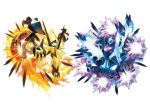 animal artist_request bat blue_eyes claws dawn_wings_necrozma dusk_mane_necrozma energy fangs glowing glowing_eyes legendary_pokemon lion mane necrozma no_humans official_art oversized_animal pokemon pokemon_(creature) pokemon_(game) pokemon_ultra_sm prism red_eyes sharp_claws simple_background tail white_background wings z-move