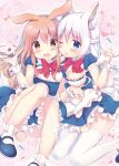 2girls :d ;p amedamacon animal_ears bangs blue_dress blue_eyes blush braid breasts brown_eyes brown_hair bunny_girl dress eyebrows_visible_through_hair fox_ears fox_girl fox_tail frills hair_between_eyes half_updo hands_up holding knees_up long_hair looking_at_viewer maid medium_breasts multiple_girls one_eye_closed open_mouth original pastry_bag pink_background rabbit_ears sitting small_breasts smile tail tareme tasting thigh-highs tongue tongue_out wariza wavy_mouth whipped_cream white_hair white_legwear wrist_cuffs