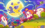 /\/\/\ 4boys backwards_hat baseball_cap beanie bow bowtie clouds commentary_request dango doc_(kirby) dorocche food full_moon grass green_hat hat headphones kirby kirby_(series) microphone moon mouse multiple_boys night nintendo official_art polof spinni squeakers storo tsukimi tsukimi_dango video_camera wagashi