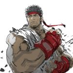 1boy black_hair commentary_request dougi fighting_stance fingerless_gloves gloves grey_eyes headband highres male_focus muscle red_gloves ryuu_(street_fighter) short_hair sketch sleeveless solo street_fighter thick_eyebrows yasuda_akira
