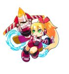1girl alpha_transparency android bow bow_(weapon) call_(mighty_no._9) chibi crossbow full_body gloves green_eyes hair_bow headset highres jetpack long_hair mighty_gunvolt mighty_gunvolt_burst mighty_no._9 official_art open_mouth orange_hair parted_lips ponytail solo transparent_background weapon