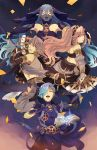 2boys 2girls aqua_(fire_emblem_if) azur_(fire_emblem) bare_shoulders blue_eyes blue_hair blush book braid breasts closed_eyes fire_emblem fire_emblem:_kakusei fire_emblem_heroes fire_emblem_if gloves hair_between_eyes hair_over_one_eye hairband highres jewelry long_hair midriff mother_and_son multiple_boys multiple_girls olivia_(fire_emblem) open_mouth pink_eyes pink_hair ponytail shigure_(fire_emblem_if) short_hair shy_(ribboneels) smile twin_braids yellow_eyes