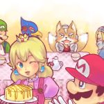 beak blonde_hair blue_eyes cake crown earrings facial_hair falco_lombardi food fox_mccloud furry hat jewelry lowres luigi mario mustache nintendo pastry princess_peach saliva sheik smile star_fox starfox super_mario_bros. super_smash_bros. tail the_legend_of_zelda wink yellow_eyes