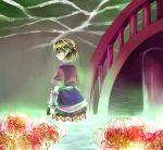 armwarmers blonde_hair bridge flower green_eyes hammer higanbana kagekichirou mizuhashi_parsee short_hair spider_lily touhou water