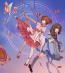 2girls absurdres black_hair black_legwear blush brown_hair card_captor_sakura closed_mouth daidouji_tomoyo green_eyes hair_ribbon highres iron_(2486886134) kinomoto_sakura long_hair looking_at_another multiple_girls red_ribbon ribbon sakura_card short_hair smile thigh-highs violet_eyes